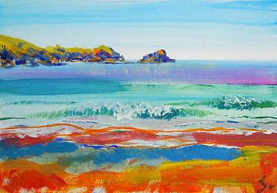 Mixed Media - En Plein Air Waves At Fistral Beach by Mike Jory