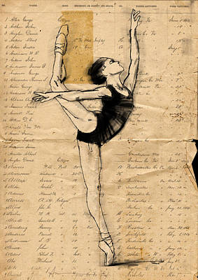 Collage Drawing - En Point by H James Hoff