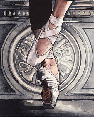 Little Ballerina Painting - En Pointe In Ballet Shoes by Laura Row