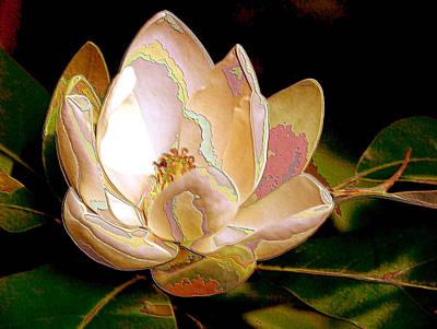 Photograph - Enamel Magnolia In Bronze by Carolyn Jacob