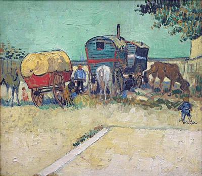 Encampment Of Gypsies With Caravans, 1888 Art Print by Vincent Van Gogh