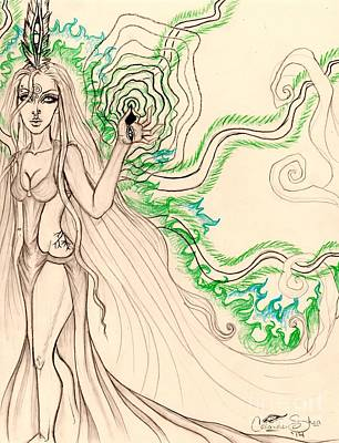 Enchanted By An Emerald Flame Sketch Art Print by Coriander Shea