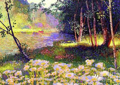 White River Scene Painting - Enchanted By Daisies, Modern Impressionism, Wildflowers, Silver Birch, Aspen by Jane Small
