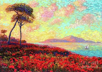 Sunset Painting - Enchanted By Poppies by Jane Small