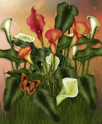 Digital Art - Enchanted Calla Lilies by Georgiana Romanovna