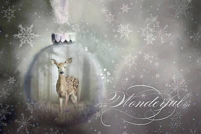 Wall Art - Mixed Media - Enchanted Christmas Doe  by Amanda Lakey