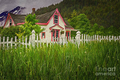 Cottage Digital Art - Enchanted Cottage With Picket Fence by Linda King
