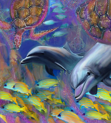 Painting - Enchanted Dolphins by Julianne Ososke