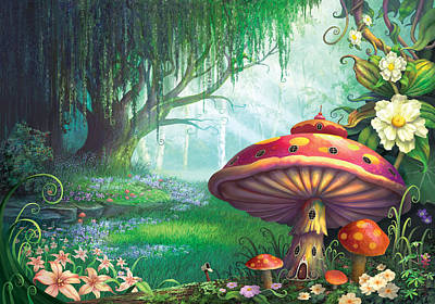 Mushrooms Painting - Enchanted Forest by Philip Straub