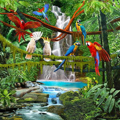 Cockatoo Digital Art - Enchanted Jungle by Glenn Holbrook