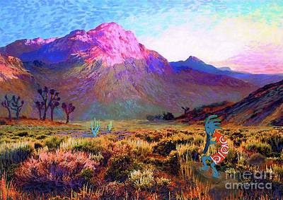 Mystical Landscape Painting - Enchanted Kokopelli Dawn by Jane Small