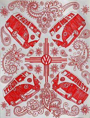 New Mexico Drawing - Enchanted Magic Bus by John Parish