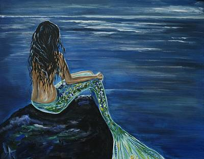 Mermaid Tail Painting - Enchanted Mermaid by Leslie Allen