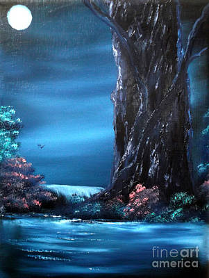 Painting - Enchanted Oak By Moonlight by Cynthia Adams