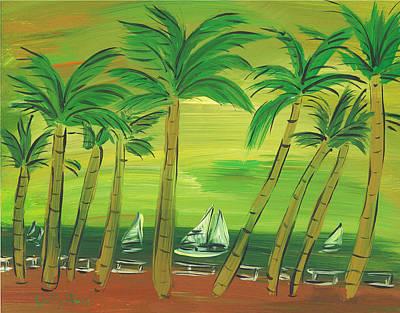Wall Art - Painting - Enchanted Palms by Sally Huss