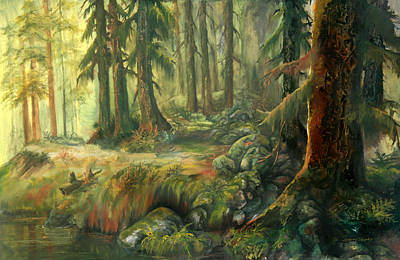 Art Print featuring the painting Enchanted Rain Forest by Sherry Shipley