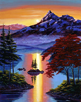 Pine Tree Painting - Enchanted Reflections by David Lloyd Glover