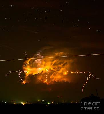 Photograph - Enchanted Rock Lightning by Michael Tidwell