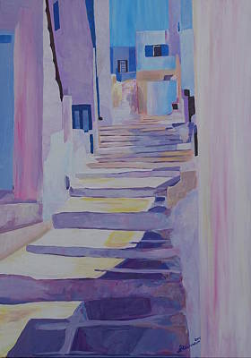 Enchanting Mykonos Greece View With Stairs Original by M Bleichner