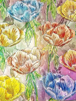 Mixed Media - Enchanting Poppies by Maria Urso
