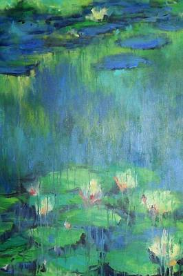Lilly Pond Mixed Media - Enchantment In Blues by Joann Shular