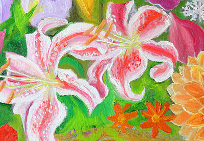 Painting - Enchantment Lilies Detail by Anne Cameron Cutri