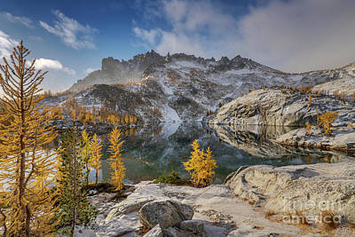 Photograph - Enchantments Golden Larchscape Winter Approaching by Mike Reid