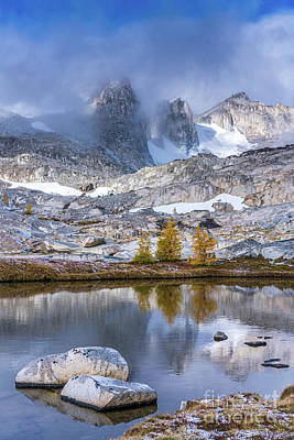 Photograph - Enchantments Majestic Peaks Fall Larches by Mike Reid