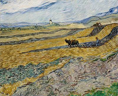Painting - Enclosed Field With Ploughman At Wheat Fields  Van Gogh Series   By Vincent Van Gogh by Artistic Panda