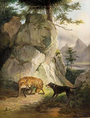 Dog In Landscape Painting - Encounter Of Fox And Dog In Rocky Landscape by MotionAge Designs