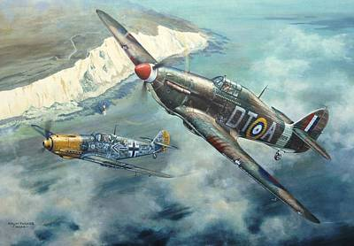 Painting - 'encounter Over Beachy Head' by Colin Parker