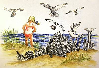 Drawing - Encountering The Winged Ones by Yvonne Blasy