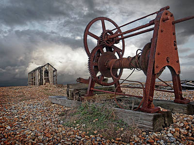 Photograph - End Of An Era - Rusty Winch And Derelict Fishing Hut by Gill Billington