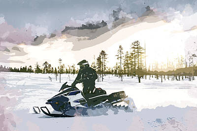 Winter Sports Painting - End Of Day Snowmobiling by Elaine Plesser