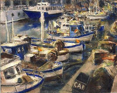End Of The Day Fishing Boats Genoa Original by Randy Sprout