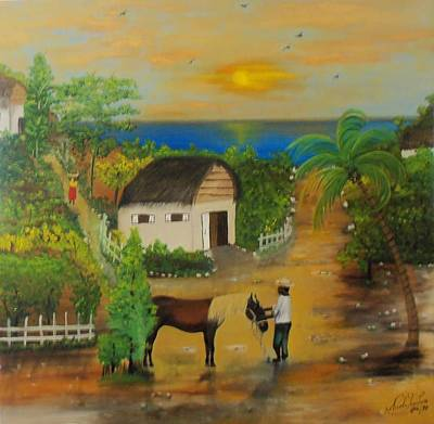 Man And His Horse Painting - End Of The Day by Nicole Jean-Louis