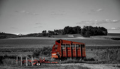 Hay Wagon Photograph - End Of The Day - Selective Color by Mountain Dreams