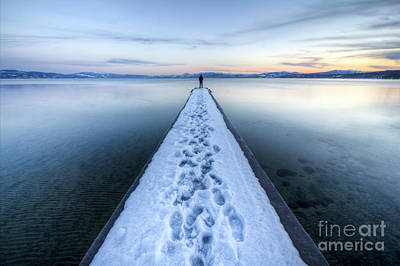 Snowy Photograph - End Of The Dock In Lake Tahoe  by Dustin K Ryan