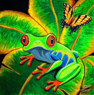 Endangered Red Eyed Tree Frog And Butterfly Art Print by Nick Gustafson