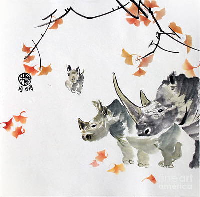 Poacher Painting - Endangered Rhinos by Ming Yeung