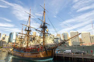 Endeavour Replica Captain Cooks Ship In Sydney Art Print by Niel Morley