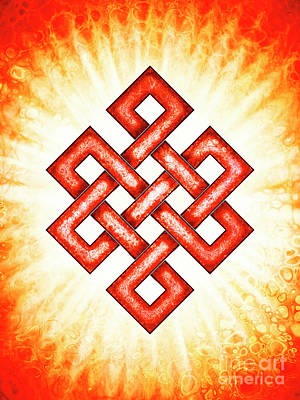 Celtic Knot Digital Art - Endless Knot - Red by Dirk Czarnota