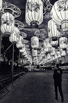 Photograph - Endless Lights Black And White by Sharon Popek