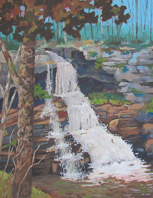 Painting - Endless Mountains Of Pa. Water Falls by Tony Caviston