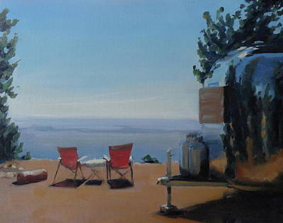 Airstream Trailer Painting - Endless View Boondocking At The Grand Canyon by Elizabeth Jose
