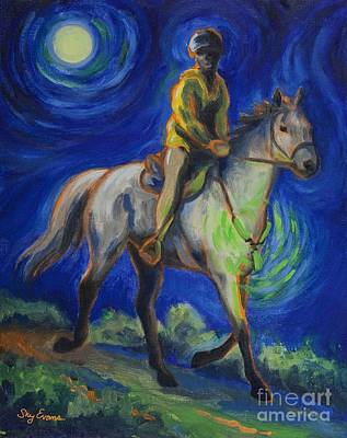 Trotting Painting - Endurance Night Ride by Sky Evans