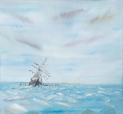 Sailboat Ocean Painting - Endurance Trapped By The Antarctic Ice by Vincent Alexander Booth