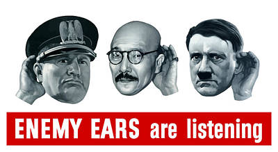 Military Gifts Painting - Enemy Ears Are Listening by War Is Hell Store