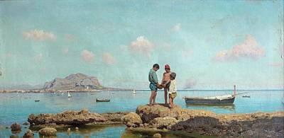 Chanting Painting - Enfant Pchant Dans La Baie De Palerme by Francesco Lojacono