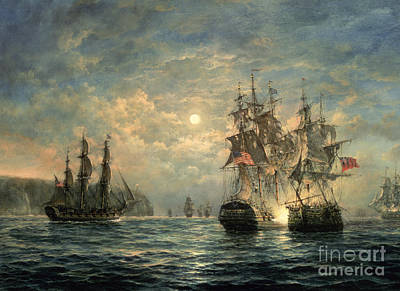 Moon Painting - Engagement Between The 'bonhomme Richard' And The ' Serapis' Off Flamborough Head by Richard Willis